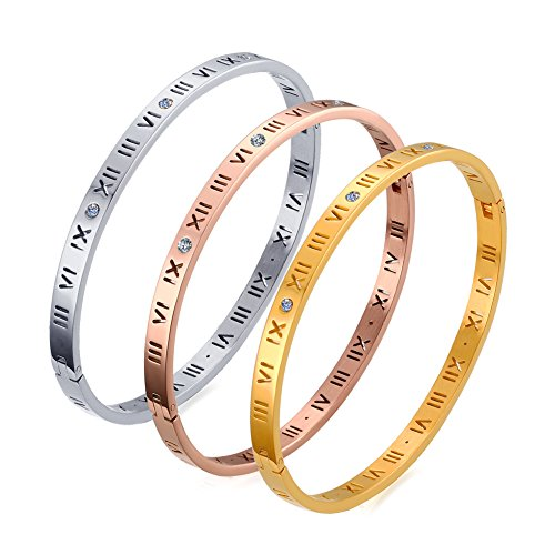 VNOX 3Pcs Stainless Steel Rhinestone Crystal Roman Numeral Bangle ()