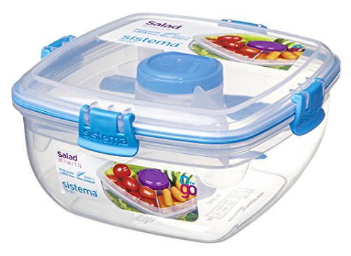 tion Salad Food Storage Container, 37 oz./1 L, Clear/Blue ()