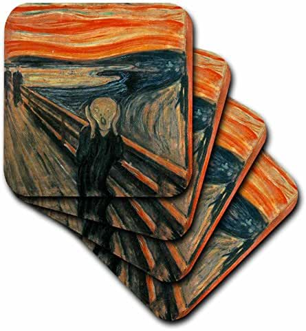3dRose The Scream Painting By Edvard Munch - Soft Coasters, set of 4 (cst_60716_1)