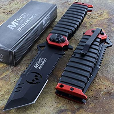 Mtech Ballistic Tactical Ao Pocket Rescue Knife Serrated Blade Red/black Handle