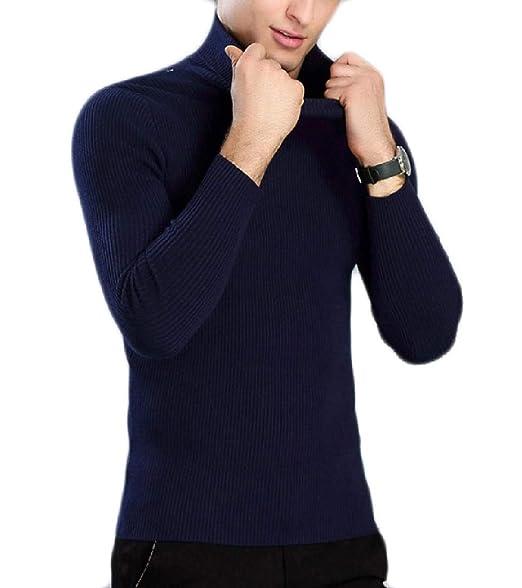 Andopa Sólido - de color bodycon cuello alto suéter de punto para ...
