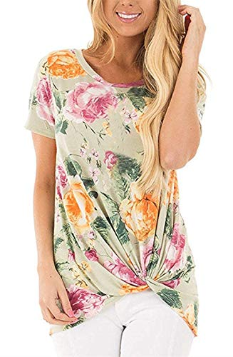 - onlypuff Short Sleeve Twist Knot Shirts for Women Floral Print Tunic Tops Casual Green L