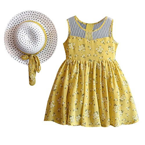 Fabal 2PCS Toddler Kids Baby Girl Outfit Clothes Chiffon Floral Vest Dress Sun Hat Set (4T, Yellow)