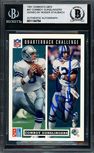 (Roger Staubach Autographed 1991 Domino's Card #47 Dallas Cowboys Beckett BAS #11144784 - Upper Deck Certified)