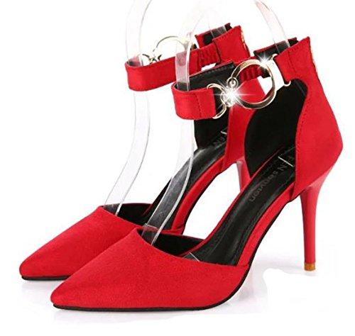 Ein bißchen 2018 Damen Elegant Knöchelriemchen Einfarbig Schuhe mit Schnappverbindung Rot