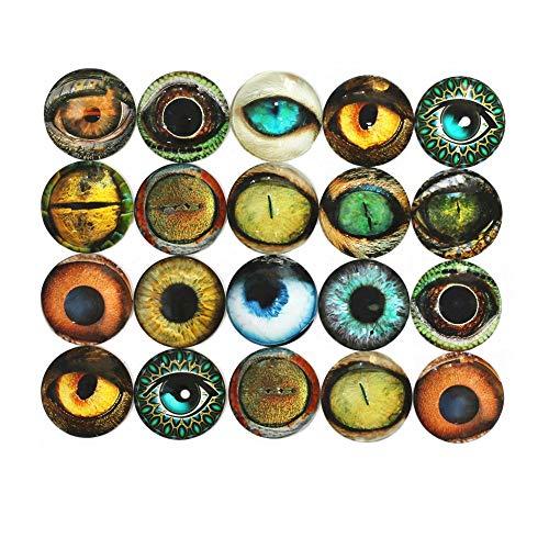 ZHU YU CHUN 20 Pcs Mixed Animals' Eye Printed Glass, Round Glass Cabochons for Jewelry Findings Cameo Pendant Making (40mm/1.5 inch) (Glass Eye Cabochons)