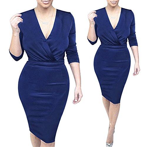SuperLouisa Elegant Womens Celebrity Deep V Ruched Tunic Pinup Slim High Waist Casual Sheath Pencil Dress 1970 Blue XXL -
