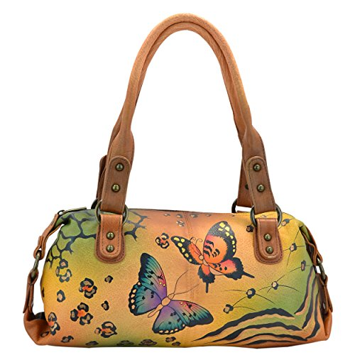 Anna by Anuschka Genuine Leather Top Zip Satchel | Hand-Painted Original Artwork | Animal - Top Butterfly Zip Handbag