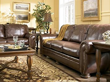Amazon.com: 100% Genuine All Leather Upholstery Sofa with Nailhead