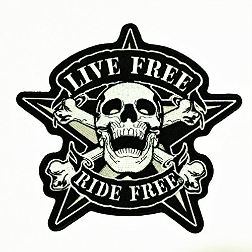 - Patch Portal Live Free Ride Free Skull Crossbone Star 9 Inches Large Embroidery Motorcycle Biker Sewing Iron On Embroidered Punk Rider Chopper Applique Great For Jacket Vest Costume Backpacks