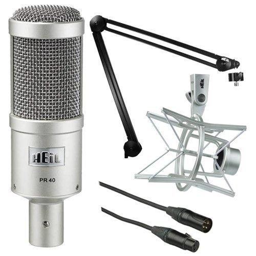 Heil Sound PR 40 Dynamic Cardioid Studio Microphone Bundle with PRSM Shock Mount, PL2T Overhead Studio and Broadcast Boom Mount and Microphone Cable (Removable Spine)