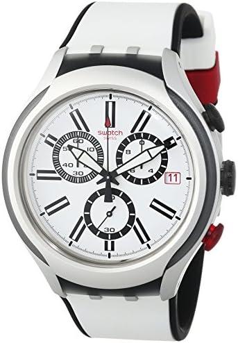 Swatch White Dial White Silicone Quartz Chronograph Men s Watch YYS4005