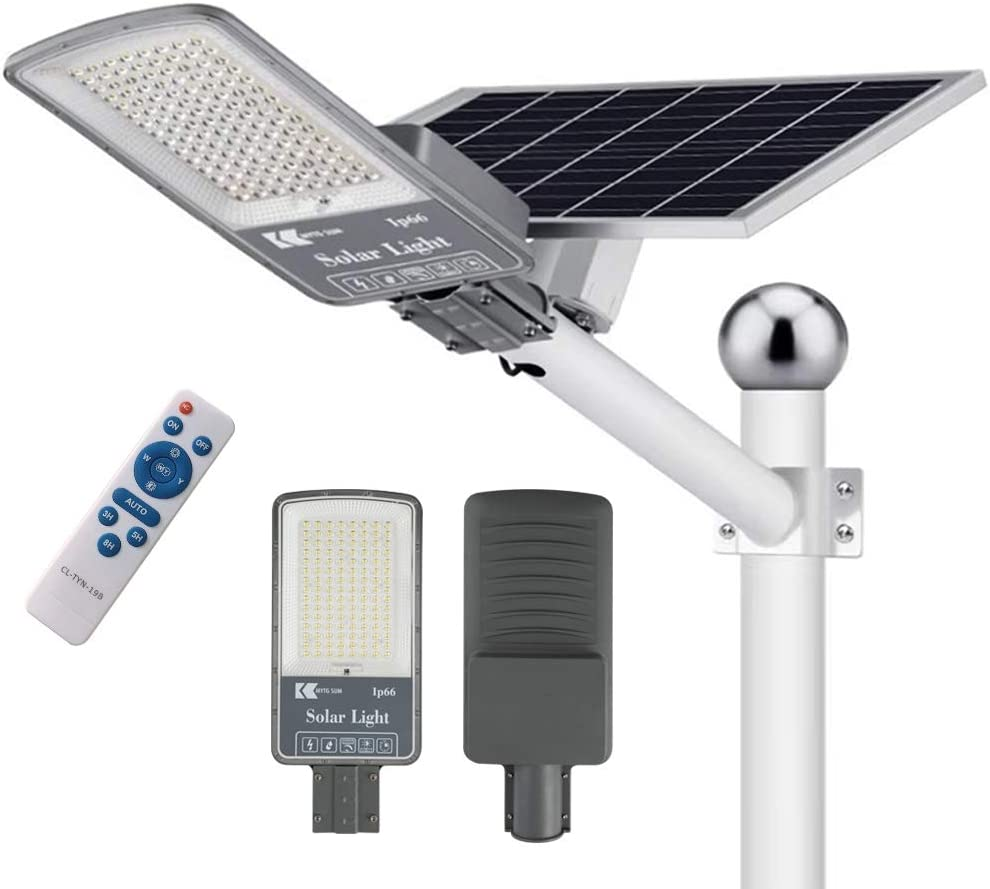 300W LED Solar Street Lights Outdoor Lamp 6500K Daylight White Security Flood Light 20000 Lumens Dusk to Dawn Pole Lights with Remote Control for Yard Street Basketball Court Parking Lots Garden