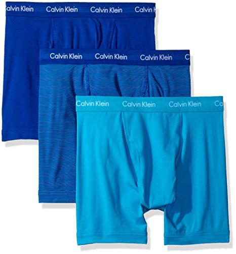 Price comparison product image Calvin Klein Men's Underwear 3 Pack Cotton Stretch Boxer Briefs,  Prussian / Paradise Stripe / Paradise,  M