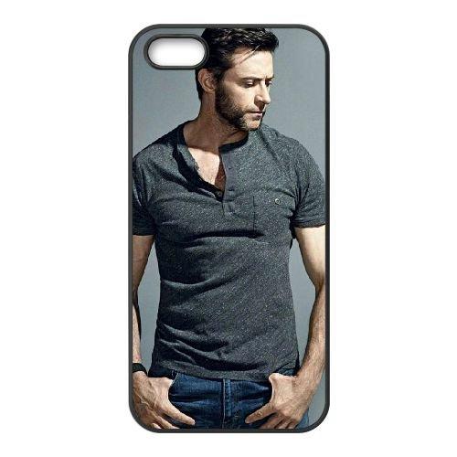 Handsome Hugh Jackman coque iPhone 5 5S cellulaire cas coque de téléphone cas téléphone cellulaire noir couvercle EOKXLLNCD24194