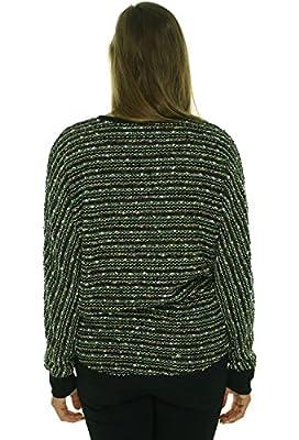 Sanctuary Women's Long Sleeve V-Neck Marled Knit Sweater Black L