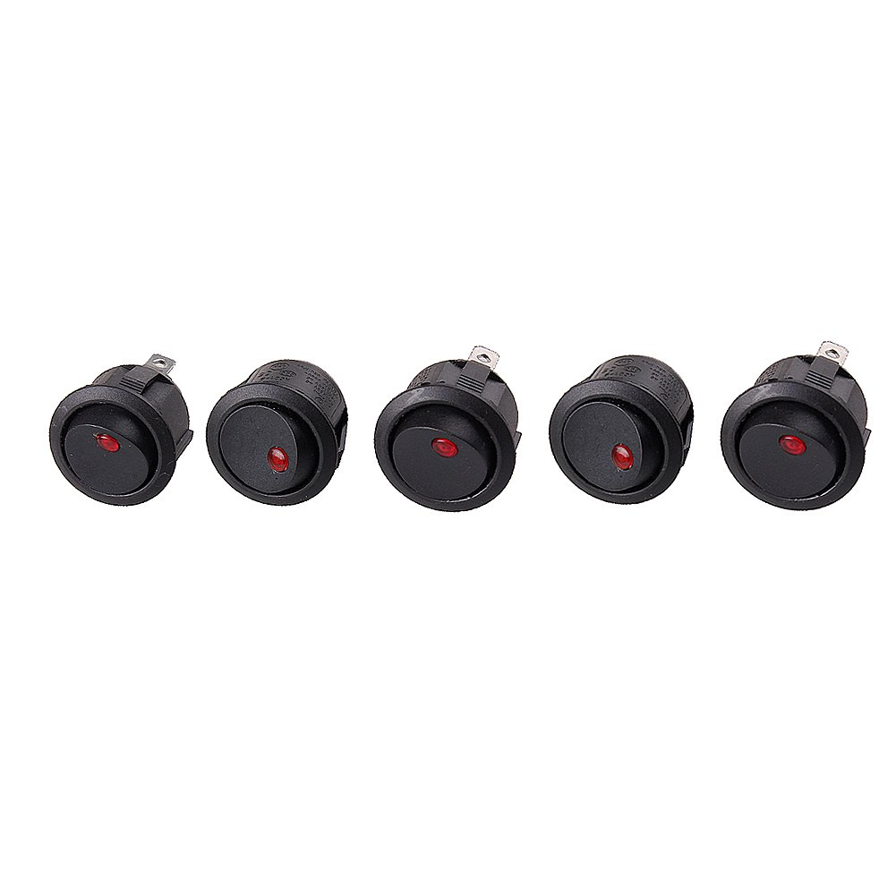 EUBUY 12V 16A Round Car Truck Rocker Toggle LED Switch Light On-off Control (10 pcs, Red)