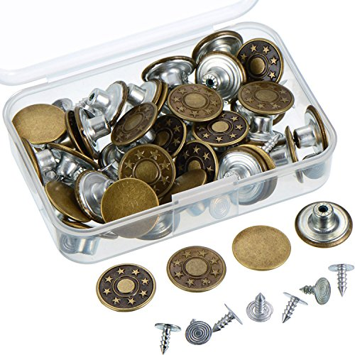 Outus 40 Sets Jeans Button Tack Buttons Metal Replacement Kit with Storage Box, 2 Styles, Bronze (Button Replacement Kit)