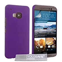 Yousave Accessories HTC One (M9) 2015 Case Purple Hard Hybrid Cover