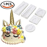 Unicorn Horn Silicone Cake Toppers Mold with Ears and Eyes Set Cake Decorating Moulds Sugarcraft Fondant Cake Decorating Tools (5 Pcs/set)
