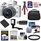 Canon EOS M50 Wi-Fi Digital ILC Camera & EF-M 15-45mm IS STM Lens (White) with 32GB Card + Battery + Case + Microphone + Video Light + Tripod + Kit