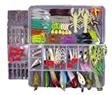 KMBEST Fishing Lures Mixed Lots including Hard Lure Minnow Popper Crankbaits VIB Topwater Diving Floating Lures Soft Plastics Worm Spoons Other Saltwater Freshwater Lures with Tackle Box(FISH234/PCS)