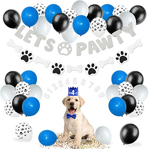 44 Pack Lets Pawty Puppy Boys Birthday Favors│Pet Adoption Party Supplies Kits Silver Glitter Banner Paws Print Balloons Blue Hat Bow Tie Doggie Bone Photo Props Ideas Woof Ruff Decoration