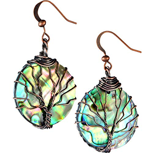 - TUMBEELLUWA Tree of Life Dangle Earrings Abalone Shell Handmade Wire Wrapped Hook Drop Earring Stone Jewelry,Copper Color,Round Shape