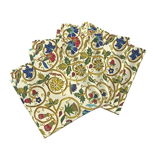 Roostery Bird Organic Sateen Dinner Napkins Embroidered Elizabethan Jacket Goldwork Imitation by Bonnie Phantasm Set of 4 Cotton Dinner Napkins Made