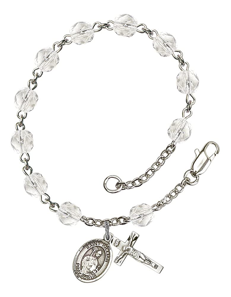 Silver Plate Rosary Bracelet Features 6mm Crystal Fire Polished Beads Patron Saint Whitewashers//Rheumatism The Crucifix Measures 5//8 x 1//4 The Charm Features a St Kilian Medal