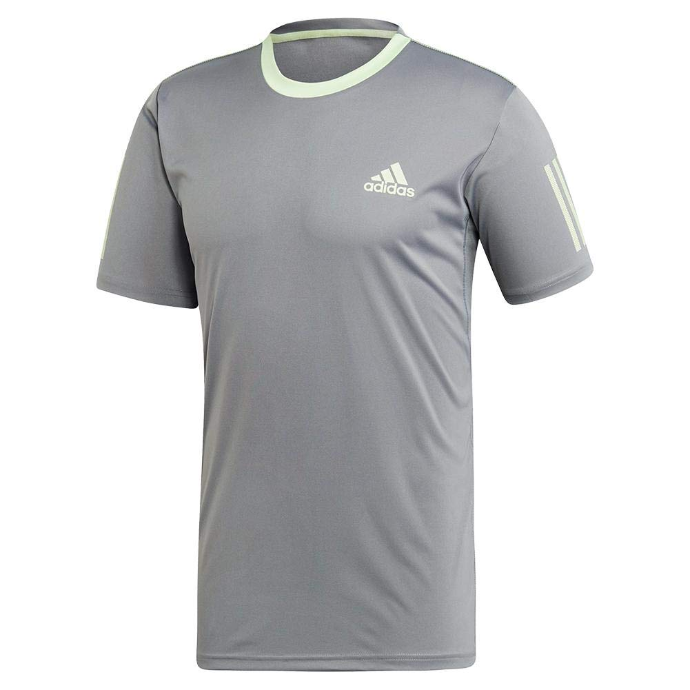 adidas Men's 3-Stripes Club Tennis Tee, Grey/Glow Green, Small by adidas (Image #1)