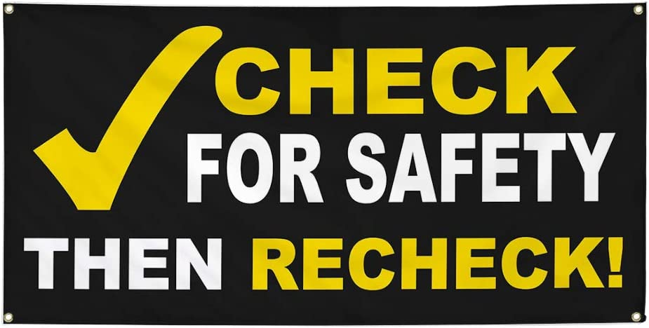 Vinyl Banner Sign Check for Safety BlackWhiteYellow Outdoor Marketing Advertising Black Multiple Sizes Available 4 Grommets 24inx60in Set of 3