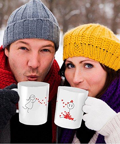 Love And Kisses - Coffee or Tea Mug Set - 11 oz White Ceramic - Set of 2 Mugs - Perfect Anniversary