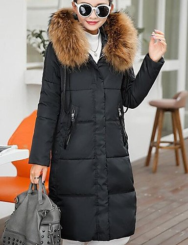 Long Polypropylene Sleeve Long Casual 2XL Size Daily Plus Solid YRF Simple Down Women's Black Gray Coat Hooded Cotton 7AO1U1PHSq
