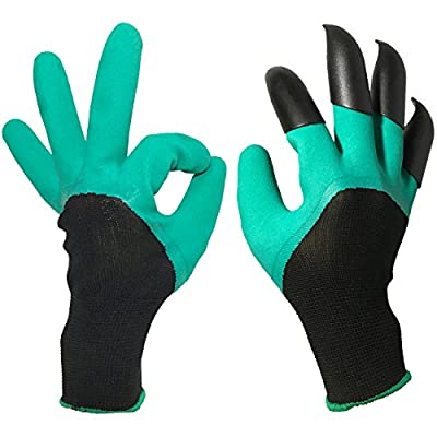 JSY-UP Unisex Garden Gloves with Sturdy Fingertips Claws on Right Hand for Digging and Planting