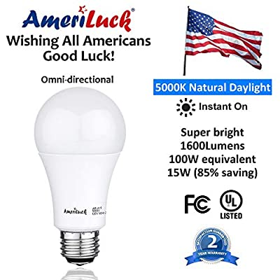 AmeriLuck 100W Equivalent LED Light Bulbs 1600+Lumens Non-Dimmable Standard A19 15W, CRI 80+, 3000K Warm Warm White, Omni-Directional