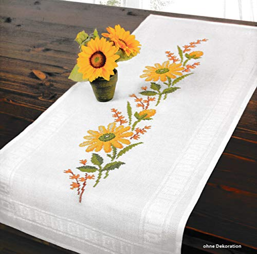 (Printed Stamped Cross Stitch Table Runner Kit for Embroidery (Sunflowers Tablerunner 6943) )