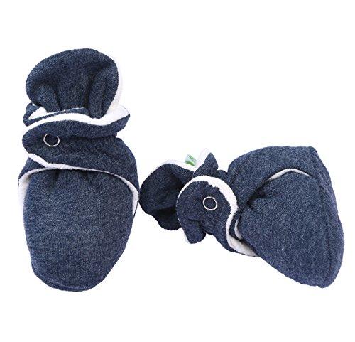 Grow Crib Series (BUM CHICOO POP MELANGE SERIES Unisex Trendy Soft Premium organic Cotton & Polyester Baby Booties for New-Born to 12 months (Black Grey, 3-6 Months))