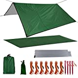 Xelparuc Camping Tarp, Waterproof Oxford Fabric Picnic Mat, Mutifunctional Outdoor Tent Tarp with Drawstring Carrying Bag for Picnic, Hiking, Backpacking(118'' x 114'', Dark Green)