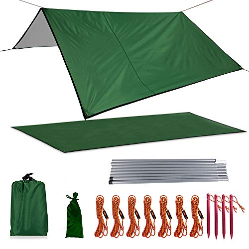 Xelparuc Camping Tarp, Waterproof Oxford Fabric Picnic Mat, Mutifunctional Outdoor Tent Tarp with Drawstring Carrying Bag for Picnic, Hiking, Backpacking(118'' x 114'', Dark Green) by Xelparuc