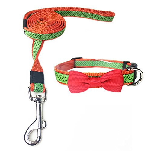 ANNIMOS Bow Tie Pet Collar with Matching Leash Adjustable Dog Collars Nylon Braided Rope