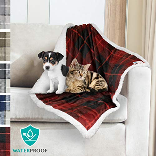 PetAmi Premium Waterproof Pet Blanket for Dog, Puppy | Plush Pet Fleece Plaid Throw for Small & Medium Dogs | Super Soft, Reversible, Warm, Sherpa Microfiber Cat Blanket | 30 x 40 Inches
