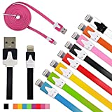 JustJamz HIGH QUALITY 3ft (1m) 10-PACK Multi-Color Flat Noodle Lightning to USB Cable for iPhone 6S/6S Plus/6/6 Plus/5s/5/5c - 8 pin to USB (Assorted Colors)