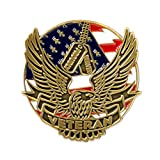 """This bold and patriotic lapel pin boasts the words """"proudly served"""" along with the American Flag and symbolic American Eagle. This pin is die struck from select jeweler's metal, has traditional red, white and blue enamel color fills and is pl..."""