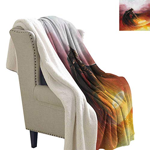 Fantasy World snuggies for Adults Superhero in His Original Costume Flying Up Magic Flame Save The World Theme Light Thermal Blanket 60x32 Inch Yellow -