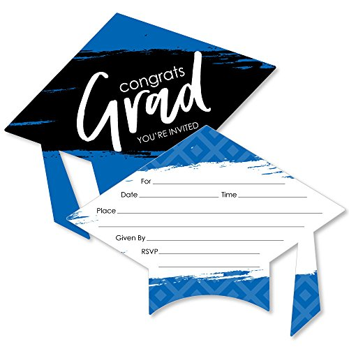 Blue Grad - Best is Yet to Come - Shaped Fill-in Invitations - Royal Blue Graduation Party Invitation Cards with Envelopes - Set of 12 -