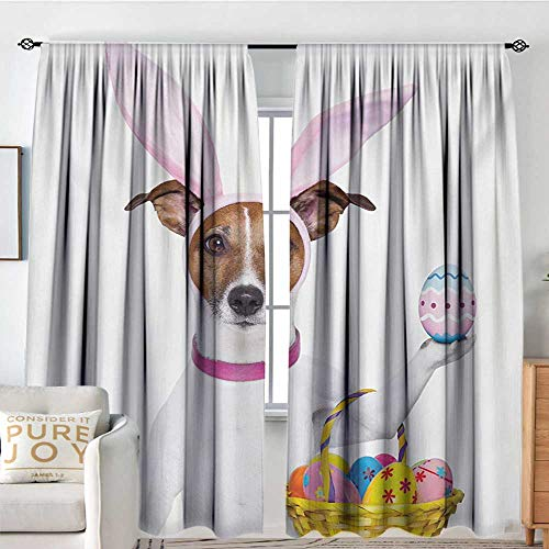 NUOMANAN Window Blackout Curtains Easter,Dog Dressed up as Easter Bunny Holding a Basket of Eggs Funny Animal Illustration,Multicolor,for Room Darkening Panels for Living Room, Bedroom 72