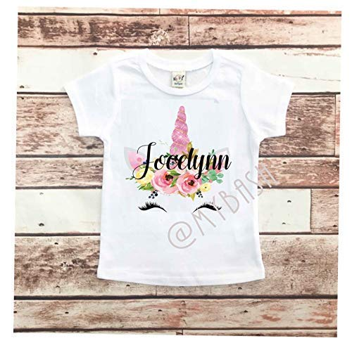 Amazon PERSONALIZE Floral Design Unicorn Birthday Shirt T Outfit W NAME Handmade