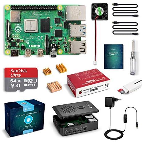 chollos oferta descuentos barato LABISTS Raspberry Pi 4 4 GB Kit Incluido Tarjeta SD de 64GB Precargada con Raspberry Pi OS 5 1V 3A Tipo C con On Off Micro HDMI 3 Disipadores de Calor Ventilador Lector de Tarjetas y Caja Negra