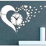 Love Heart Shape Waterproof Mute Clock Acrylic Mirror Wall Stickers